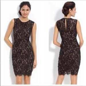 Eliza J Black Ruched Lace Sleeveless Dress 8